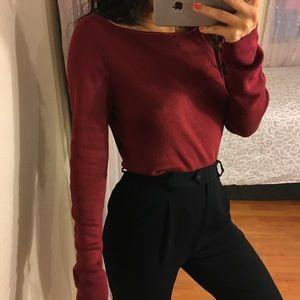 loft burgundy silk long sleeve